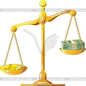 Unbalanced Gold Scale With Coins And Banknotes   Vector Clip Art