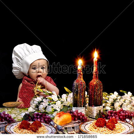 Baby Chef At Italian Dinner Table With Dripping Wax On Candles