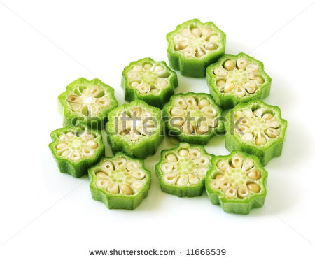 Chopped Okra Fruit Ready To Be Cooked Isolated On White Background