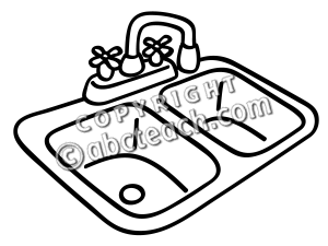 Kitchen sink clipart black and white