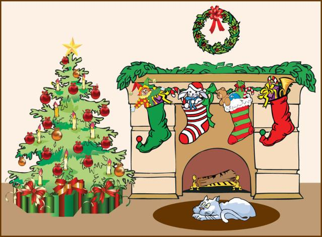 Clip Art Of A Fireplace With The Stockings Hung   Dixie Allan