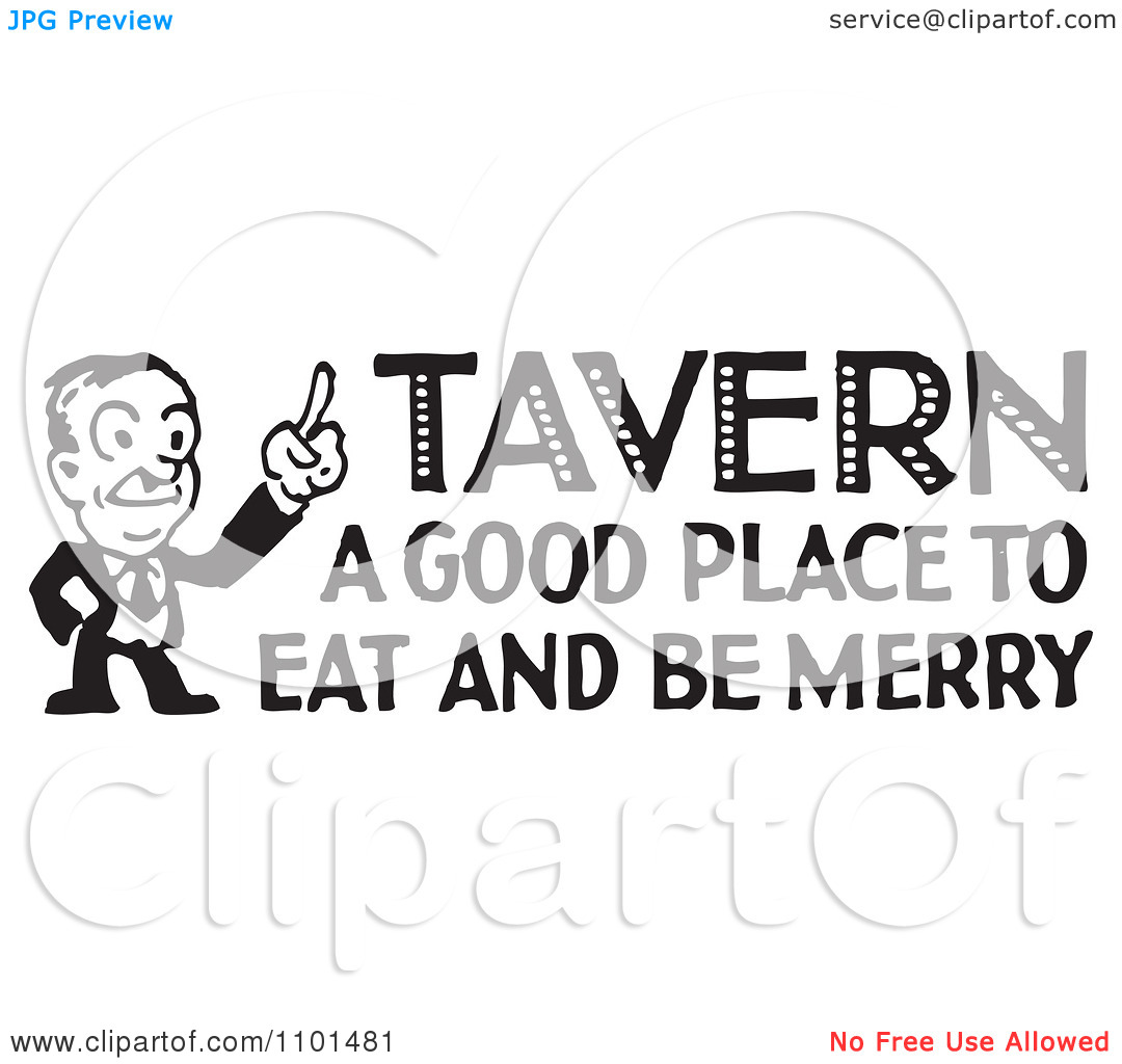 Clipart Retro Black And White Man With Tavern A Good Place To Eat And