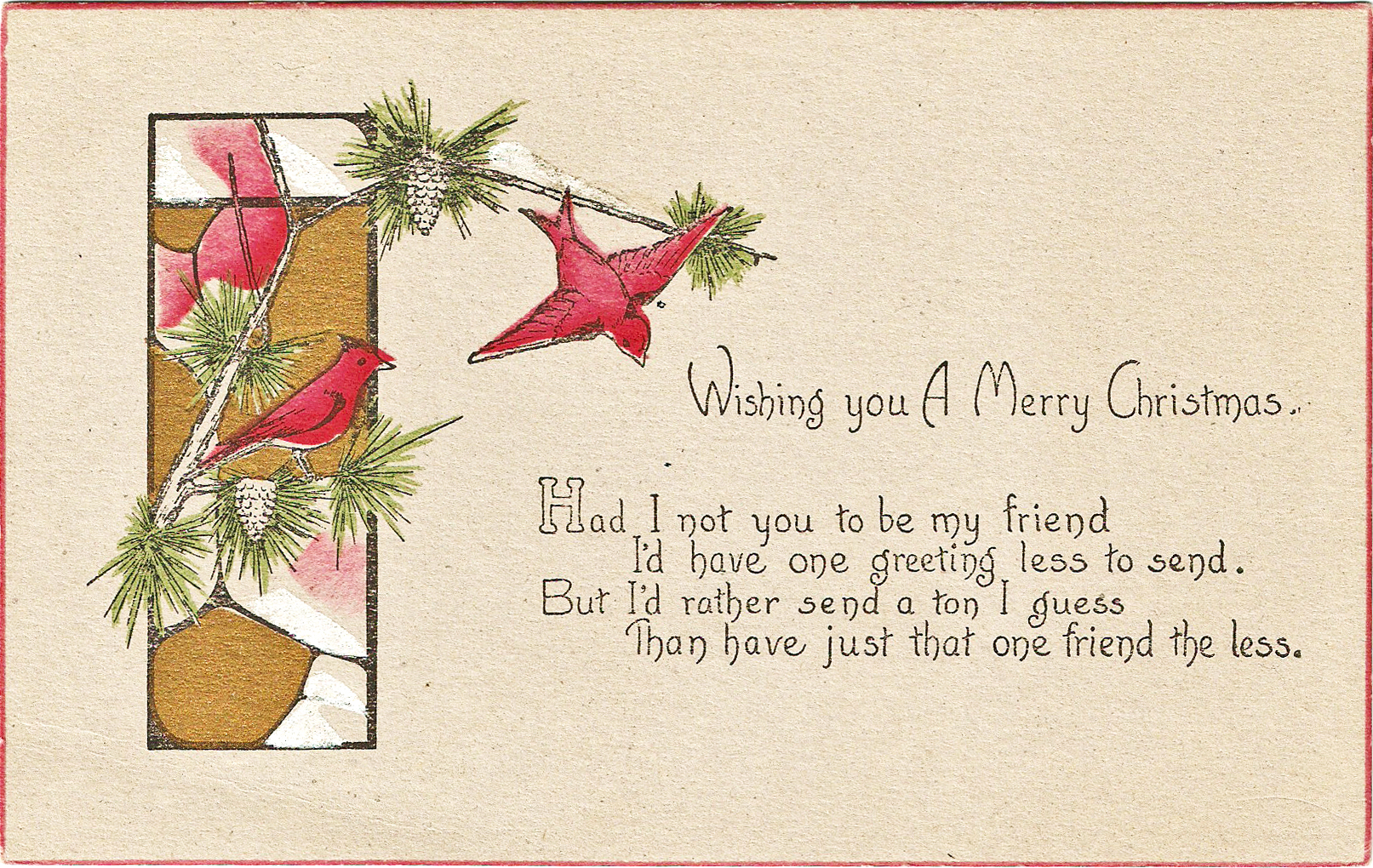 Free Vintage Clip Art   Christmas Wishes Red Bird Postcards