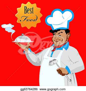 Illustration   Funny Happy Chef Food For Gourmet  Clip Art Gg63764286