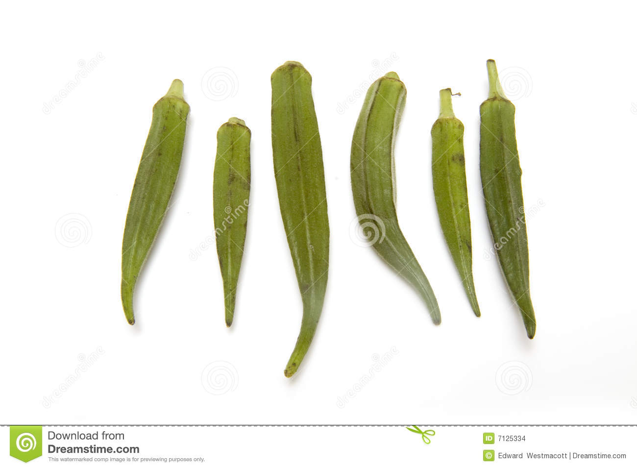 Okra Or Ladies Fingers Isolated On A White Studio Background