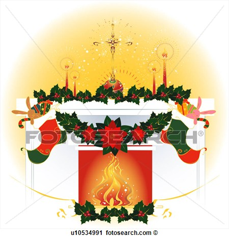 Religions Christian Fireplace Christmas U10534991   Search Clip Art