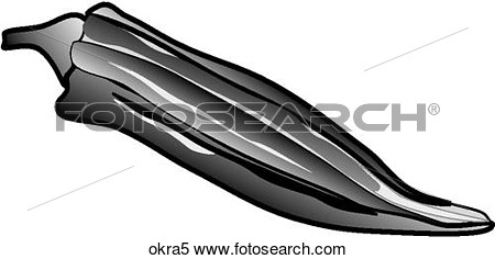 Stock Illustration Of Okra One B W Okra5   Search Clipart Drawings