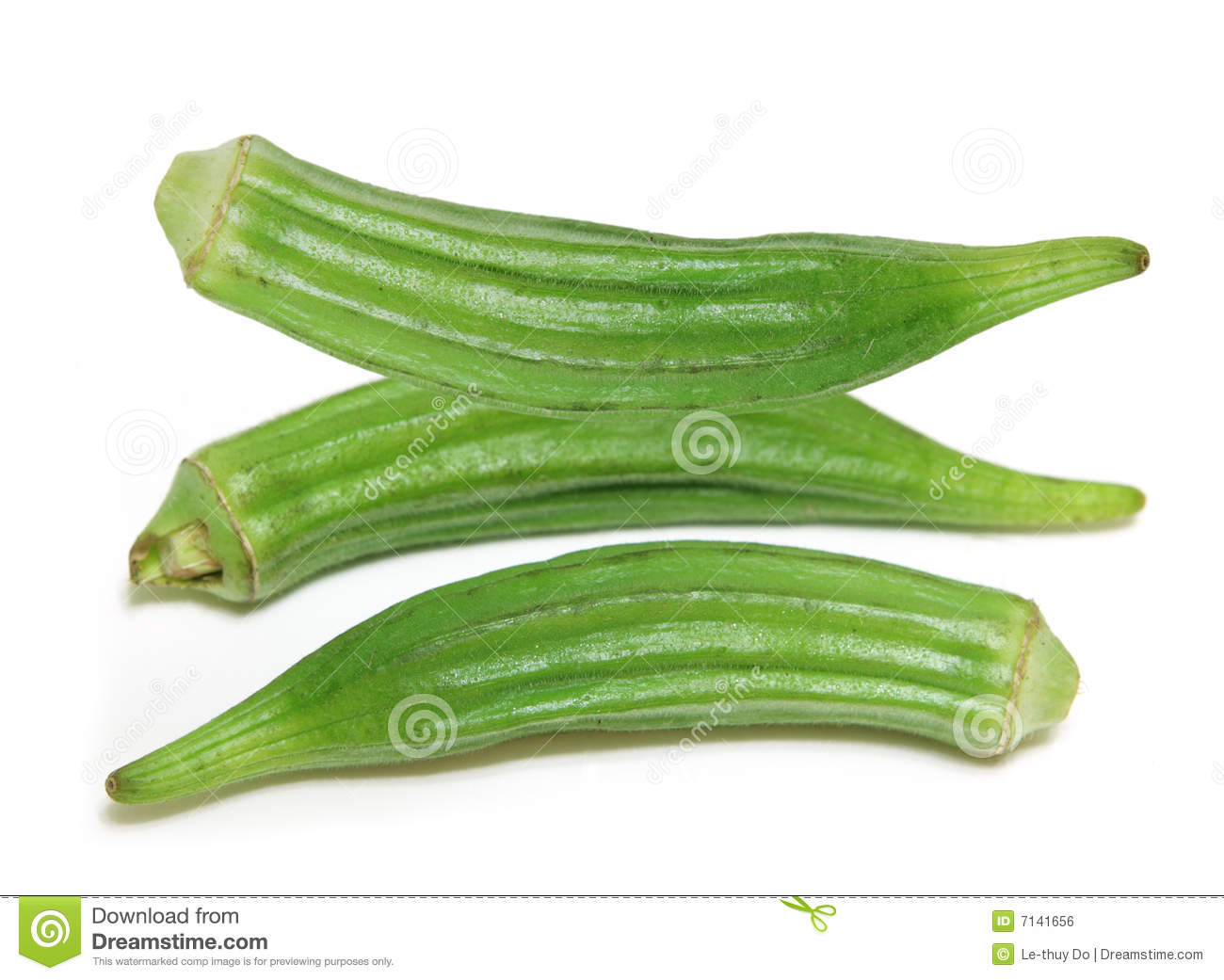 Three Okra Fruits Isolated On White Background