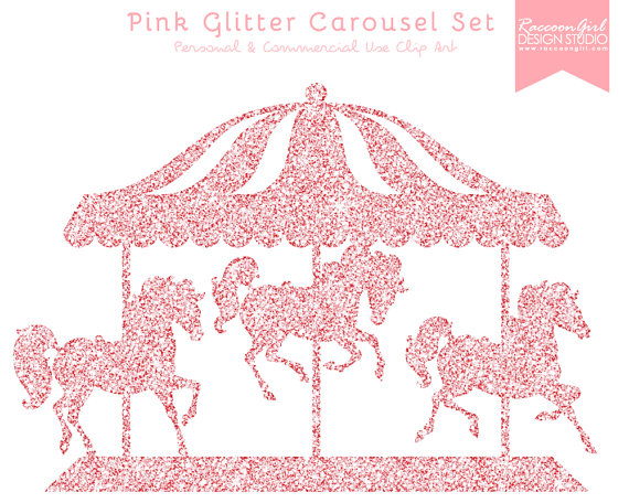 50  Off Pink Glitter Carousel Clip Art Set   Personal   Commercial Use