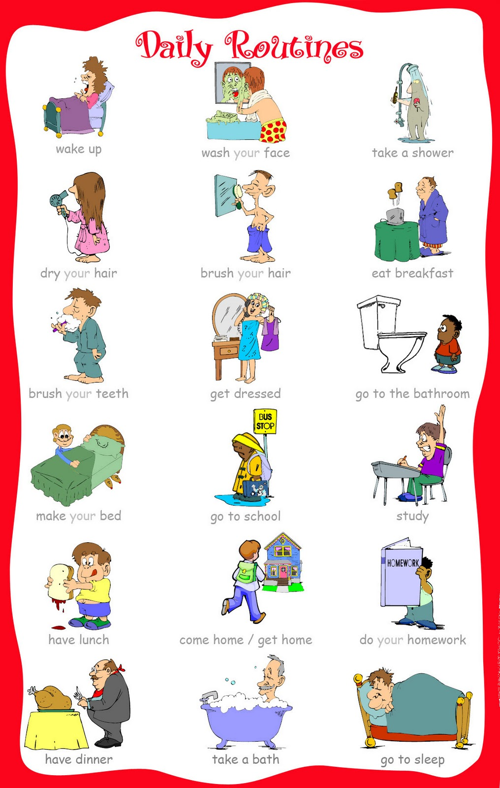 Based Activities To Develop Vocabulary   Daily Routines   Lesson Plan