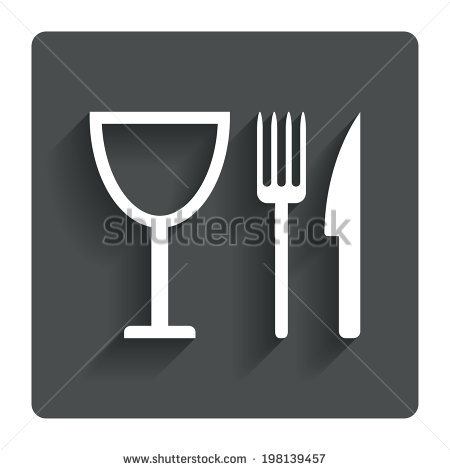 Eat Sign Icon  Cutlery Symbol  Knife Fork And Wineglass  Gray Flat