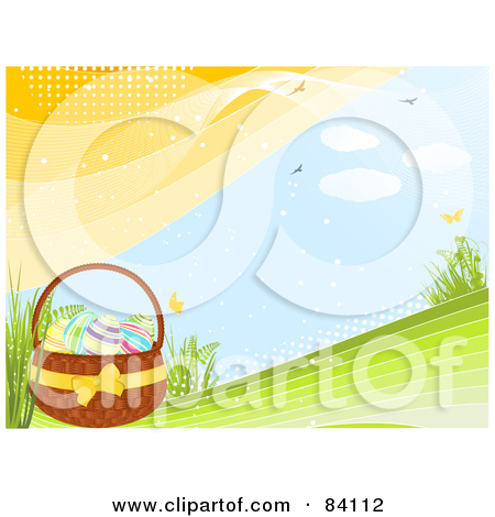Eggs In An Easter Basket On A Green Spring Hill With Butterflies Birds