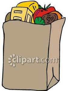 Groceries In A Brown Paper Bag   Royalty Free Clipart Picture