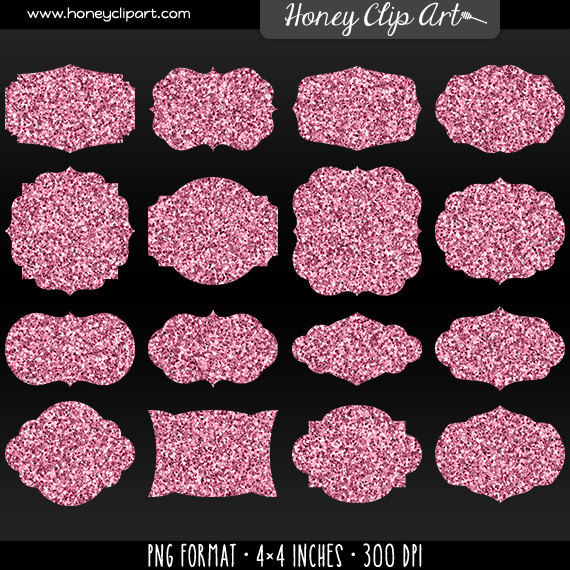 Pink Glitter Label Clip Art   Printable Pink Sparkle Tag Clipart