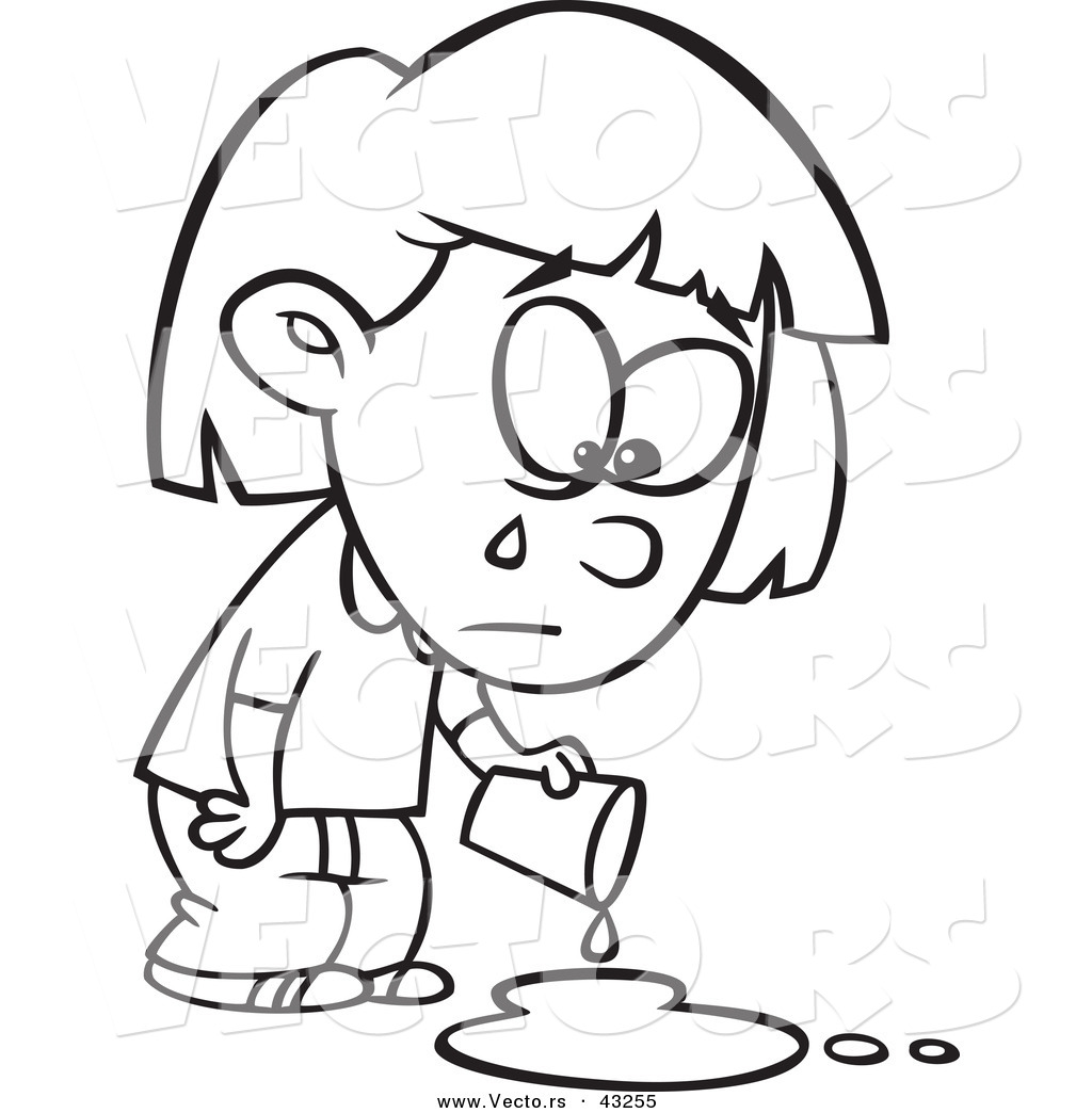 Sad Cartoon Girl Crying Over A Spilled Drink   Coloring Page Outline
