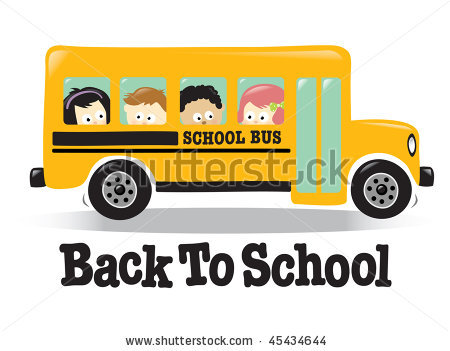 School Bus Side View Flat Front Stock Vector Back To School Bus W Kids