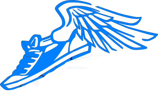 Blue Running Shoe With Wings Clip Art At Clker Com   Vector Clip Art