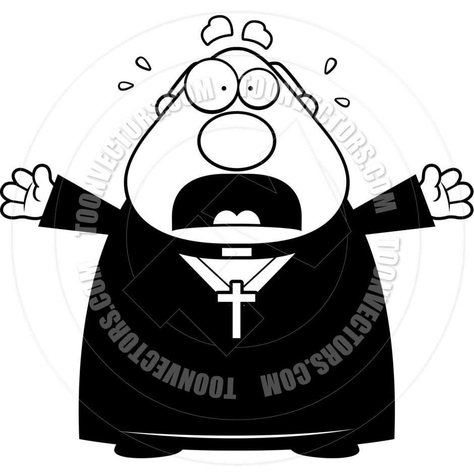 Cartoon Priest Scared  Black And White Line Art  By Cory Thoman   Toon