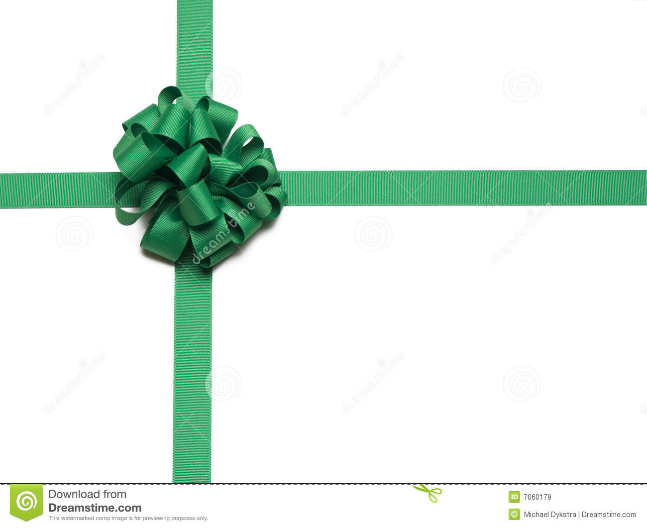 Christmas Green Ribbon And Bow Royalty Free Stock Images   Image