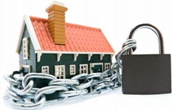 Clip Art Style Image Of Chain Around House With Padlock