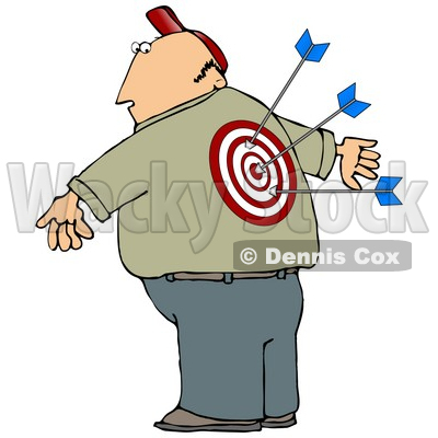 Clipart 13228 Man With A Bullseye And Arrows In His Back Clipart