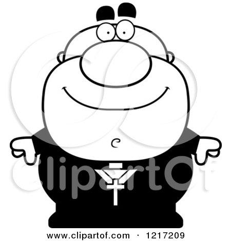 Clipart Of A Black And White Happy Priest   Royalty Free Vector