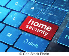 Concept  Home Security On Computer Keyboard Background Clip Art