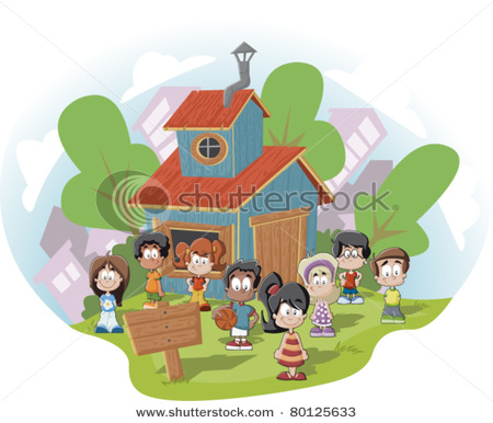 Cute Happy Cartoon Kids In Front Of Wood Club House   Vector Clip Art
