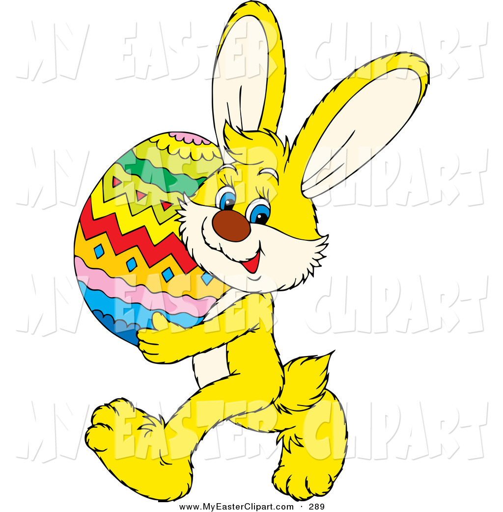 Easter Bunny With Eggs Clipart Bunny On The Grass With Easter