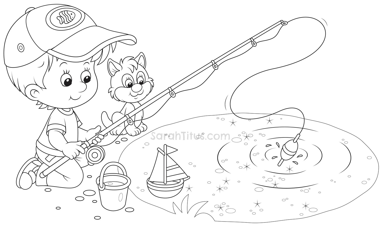 Free Coloring Pages Pond Animals : Pond habitat coloring page pages