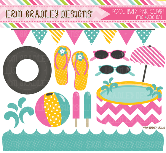 Pool Party Clipart Digital Paper Graphics #nIrN1y - Clipart Kid