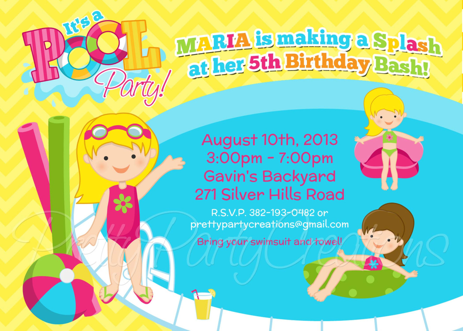 Pool Party Invitations Clipart - Clipart Kid