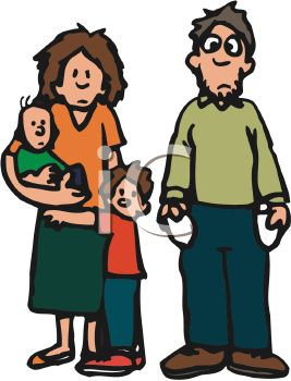 Cartoon Of A Poor Family With Two Little Boys   Royalty Free Clip Art