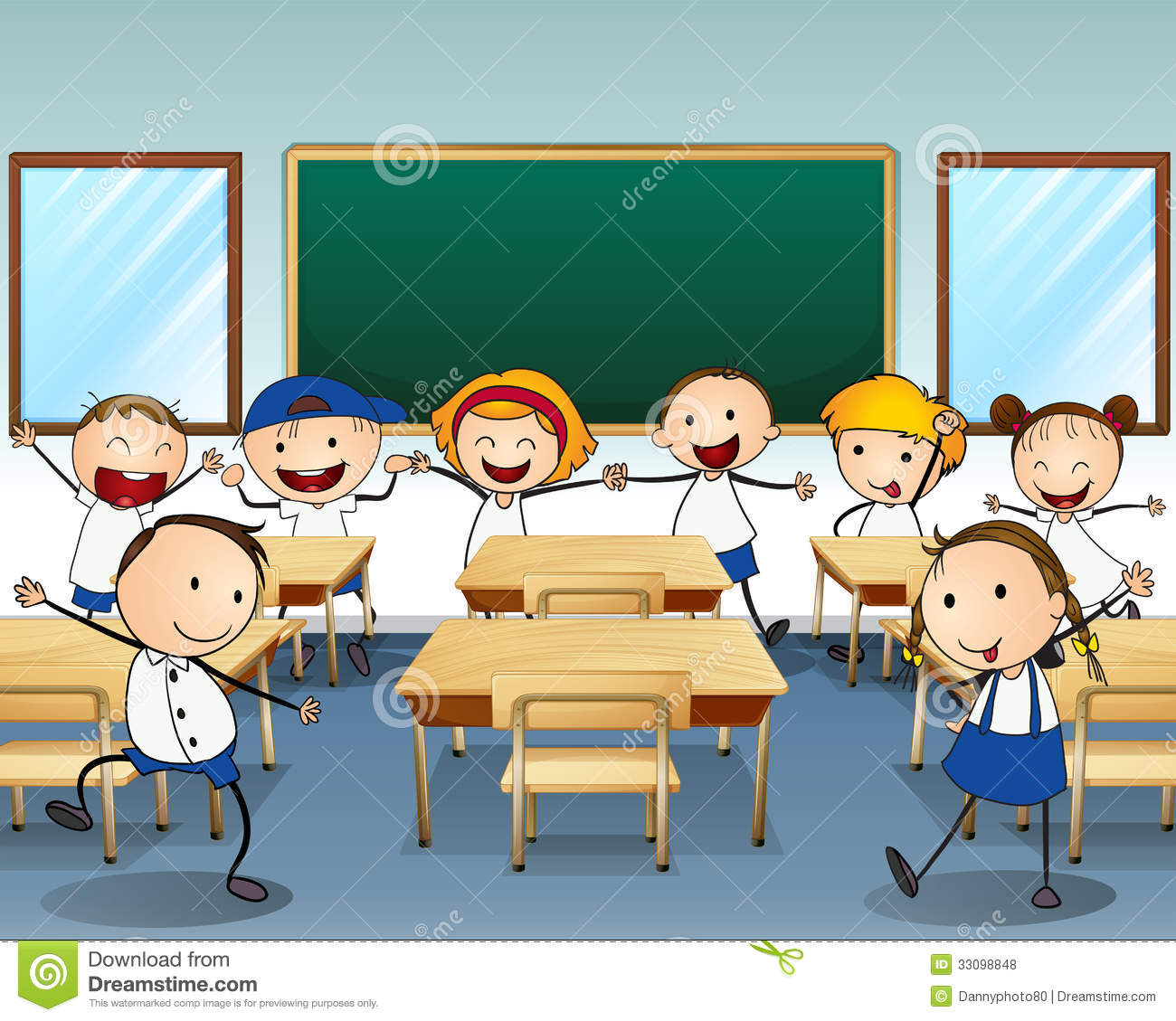 Children Dancing Inside The Classroom Royalty Free Stock Photos