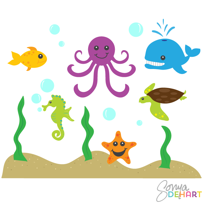 Clipart Ocean Animals Clip Art Ocean Animals And Sea