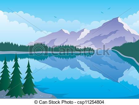 Clipart Of Mountain Lake   Illustrated Landscape Of Mountain And Lake
