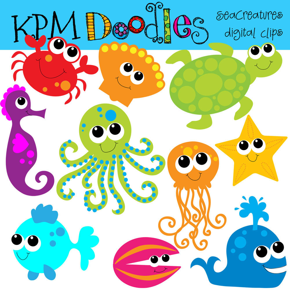 Combo Pack Bright Sea Creatures Digital Clip Art And By Kpmdoodles