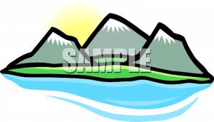 Mountain Range Near A Lake   Royalty Free Clipart Picture