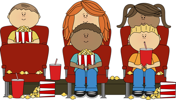Movie In Theater Clip Art   Kids Watching Movie In Theater Image