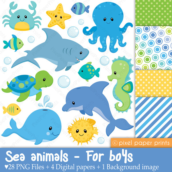 Sea Animals Clip Art Cute Sea Animals Clip Art Ocean Animals Clip Art