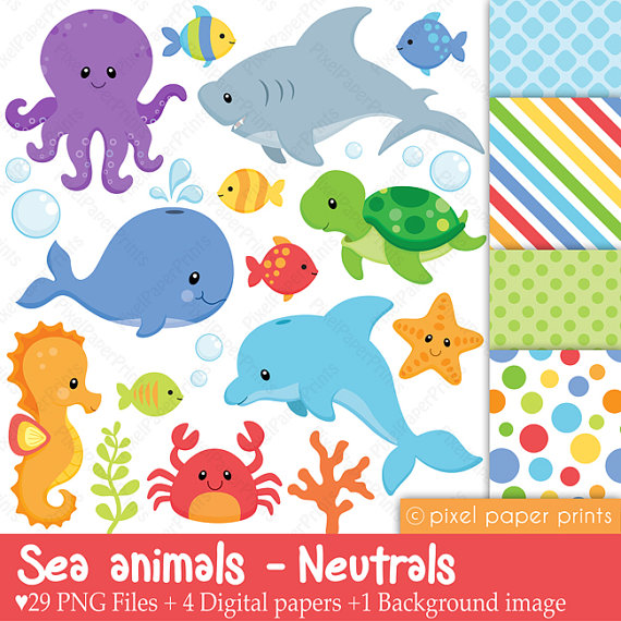 Sea Animals Neutrals Clip Art And Digital By Pixelpaperprints