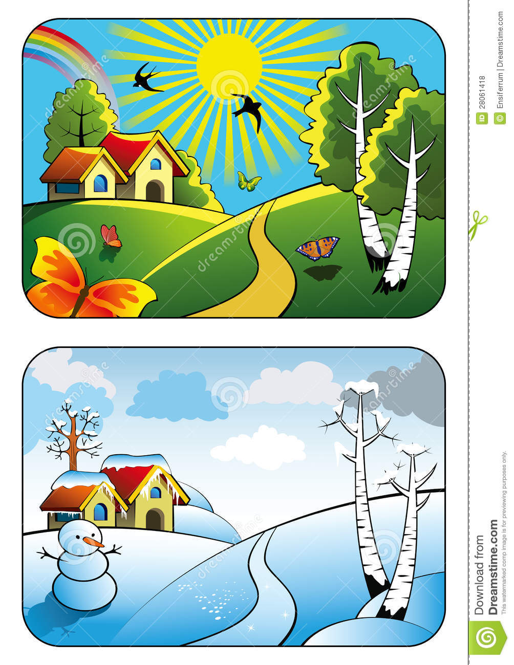 Winter And Summer Landscape Royalty Free Stock Photos   Image