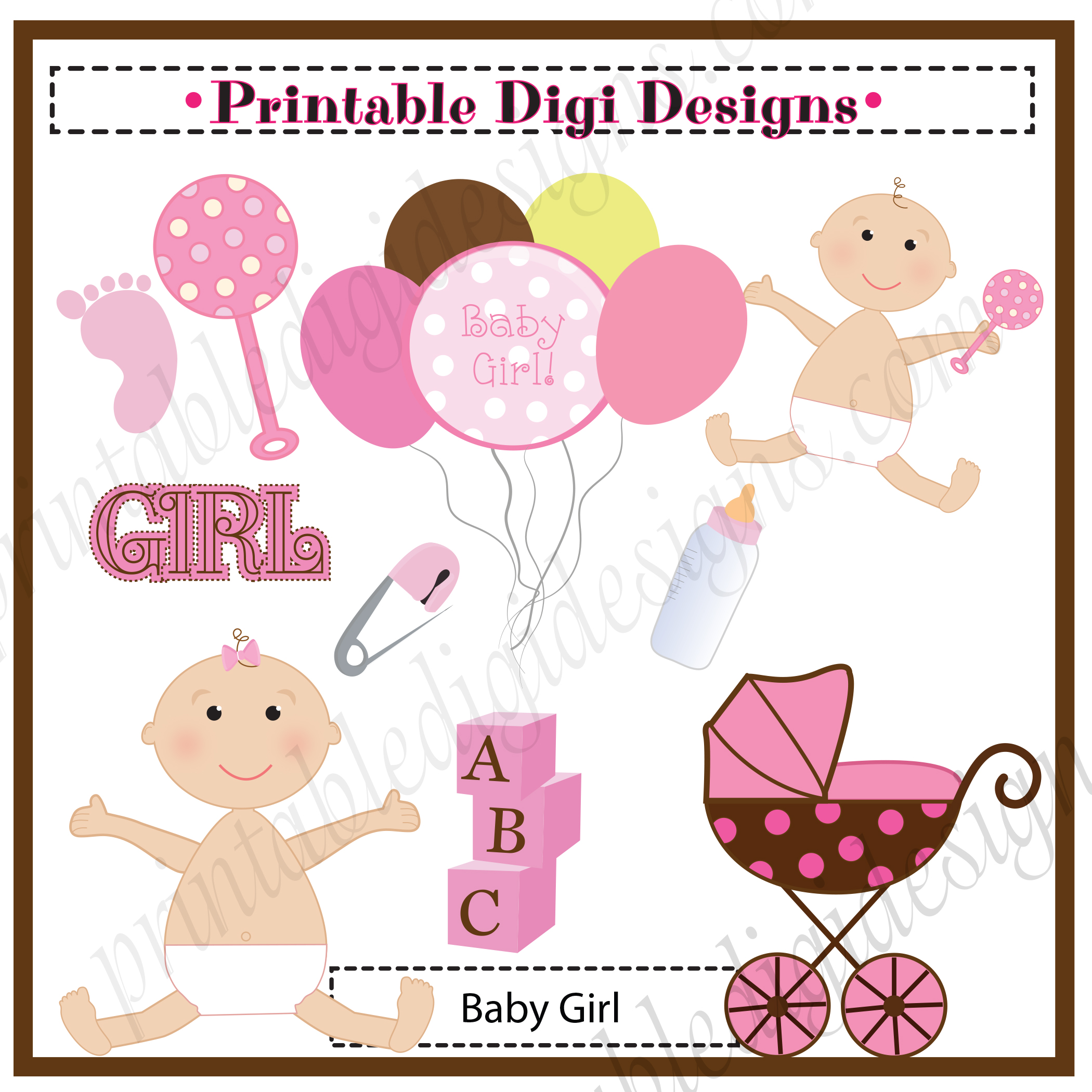 baby girl pink shower clipart graphic set 3 50 baby girl pink shower