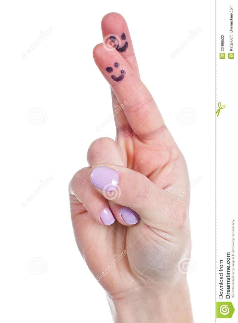 Close Up Van Een Vrouwelijke Hand Met Gekruiste Vingers Grappige
