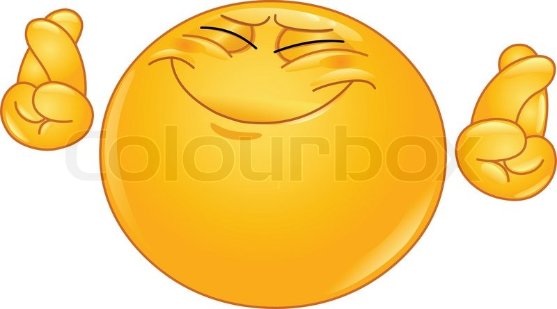 Emoticon Hoping Hard With Crossed Fingers   Vector   Colourbox