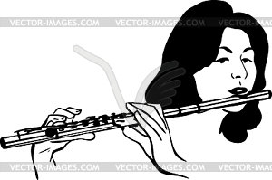 Girl Plays Wind Musical Instrument Flute   Vector Clip Art