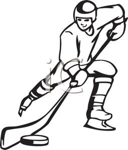 Hockey Stick Clipart Black And White A Black And White Cartoon Hockey