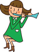 Portrait Of Girl Blowing Flute   Royalty Free Clip Art