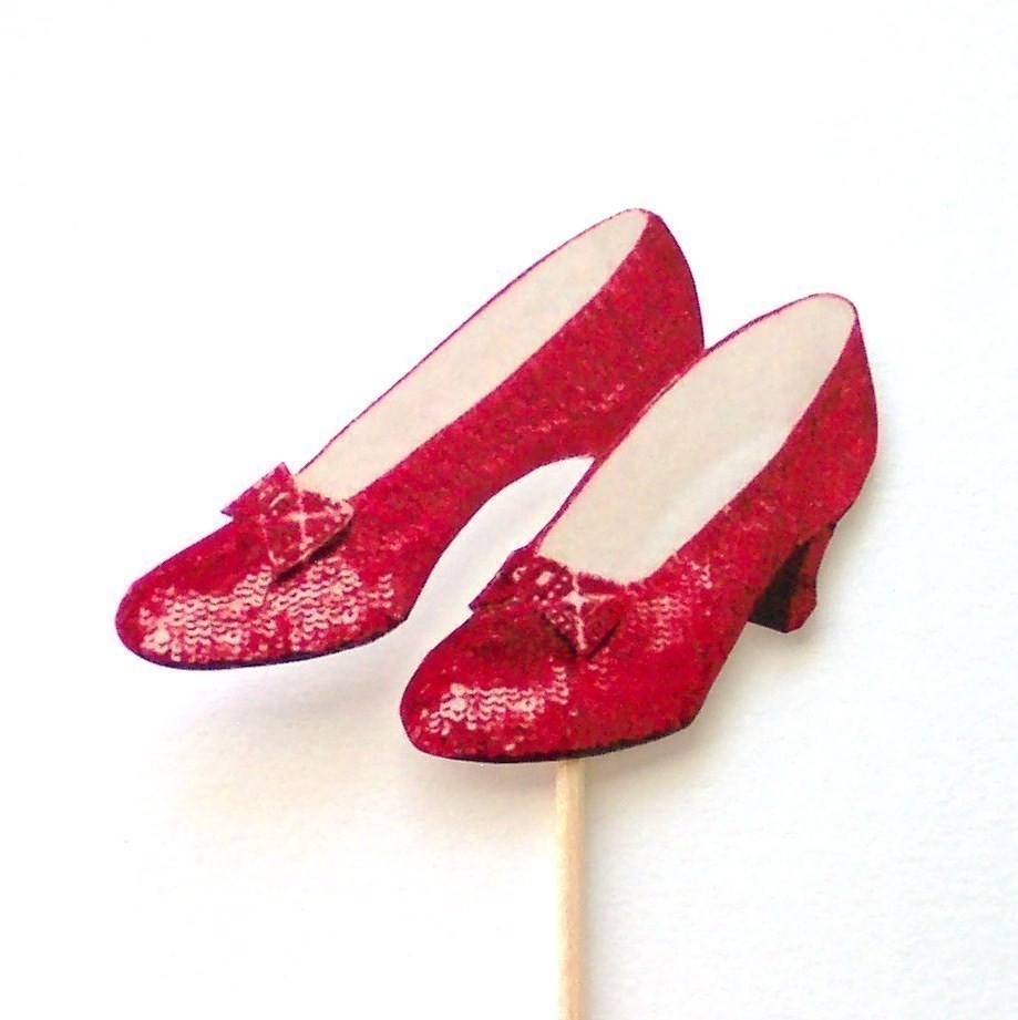 Ruby Slippers Cupcake Toppers Set Of 12 By Theblissfulbaker