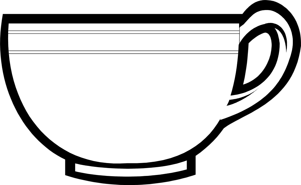 Tea Cup Black And White Clipart - Clipart Kid